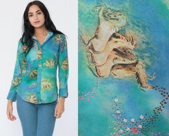 Horse Blouse 70s Boho Shirt Psychedelic Disco Top Fantasy Bohemian Hippie Button Up Top 1970s Vintage Blue Collared Long Sleeve Small