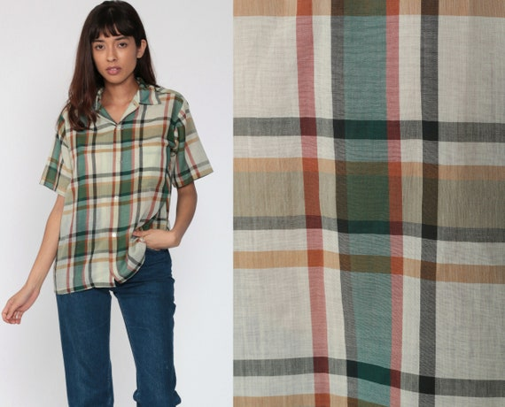 Green Plaid Shirt 80s Button Up Shirt Checkered Print Short Sleeve Boho 1980s Top Short Sleeve Shirt Vintage Medium