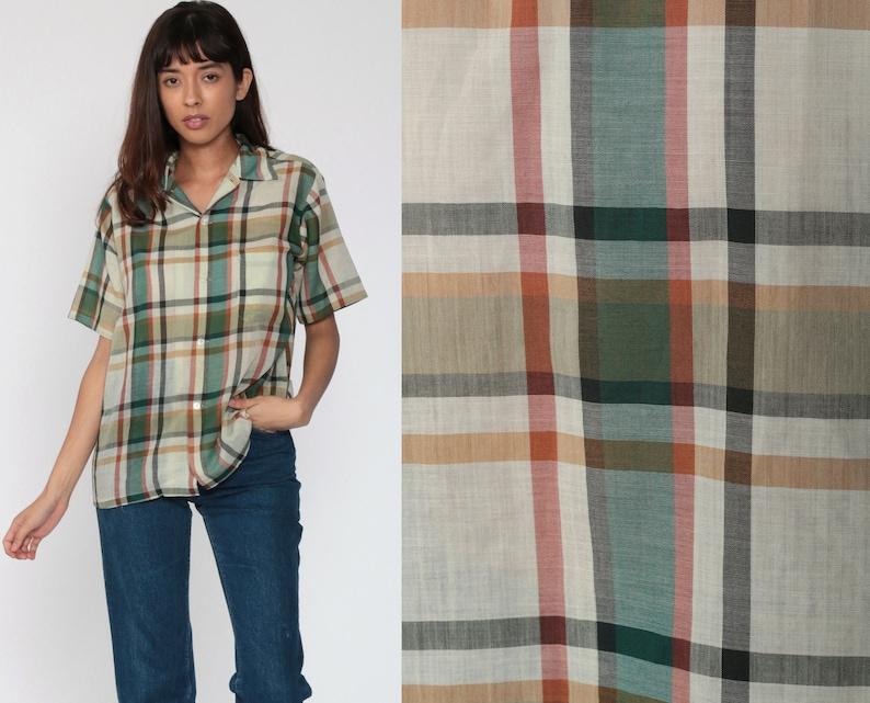 Green Plaid Shirt 80s Button Up Shirt Checkered Print Short Sleeve Boho 1980s Top Short Sleeve Shirt Vintage Medium