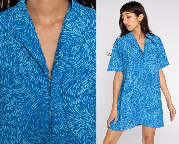 70s Mini Dress Blue Psychedelic Dress 60s Shift Mod Swirl Vintage 1970s Twiggy Gogo Zip Up Short Sleeve Minidress Medium Large