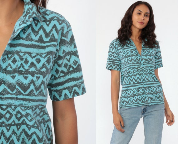 Tribal Shirt Aztec Shirt 90s Southwestern Tribal Print Blue Button Up Short Sleeve 1990s Vintage Grunge Southwest Retro Small Medium