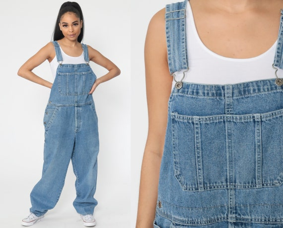 Y2K Jean Overalls Old Navy Denim Bib Overalls Dungarees Jeans Long Pants Baggy Boyfriend Suspender 00s Vintage Carpenter Small Medium