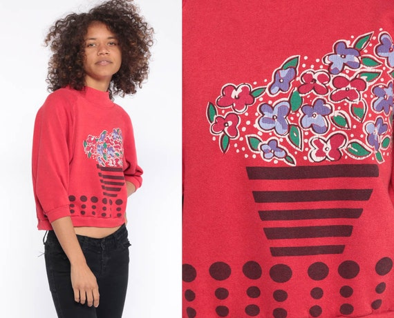 Flower Pot Sweatshirt -- 90s Gitano Cropped Sweatshirt Jumper 80s Graphic Pullover Sweater Red Floral Print Vintage Extra Small xs