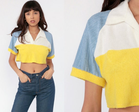 Terry Cloth Shirt Color Block Crop Top Tennis Shirt Retro T Shirt 70s TShirt Baby Blue Vintage 80s White Yellow Short Sleeve Small Medium