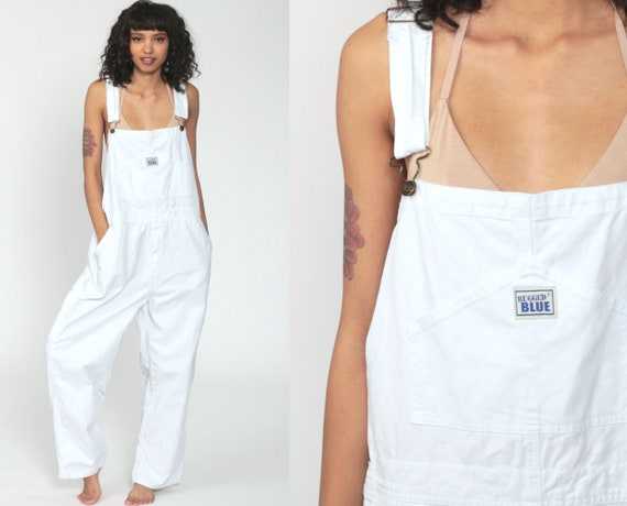 White Cotton Overalls 90s Grunge Baggy Suspender Pants Normcore Long 1990s Cargo Utility Workwear Vintage Dungarees Medium Large