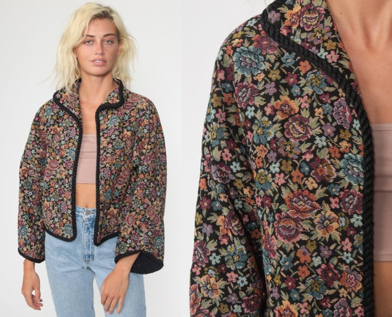 Floral TAPESTRY Jacket 90s Open Front Blazer Bohemian Vintage 1990s Women Boho Woven Jacket Retro  Medium Large