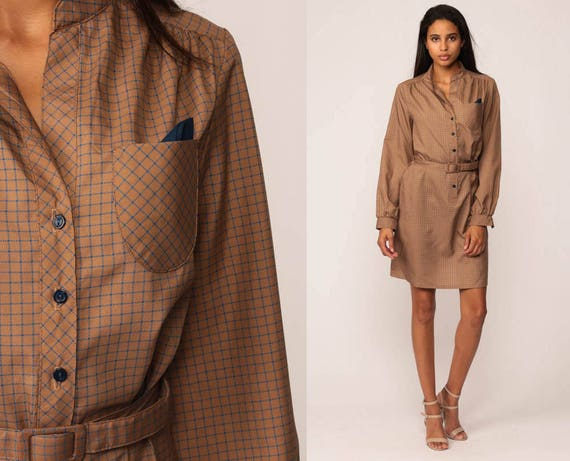 70s Dress Mini Button Up Checkered Print Shirtdress High Waisted Secretary BELTED 1970s Vintage Retro Long Sleeve Brown Retro Medium