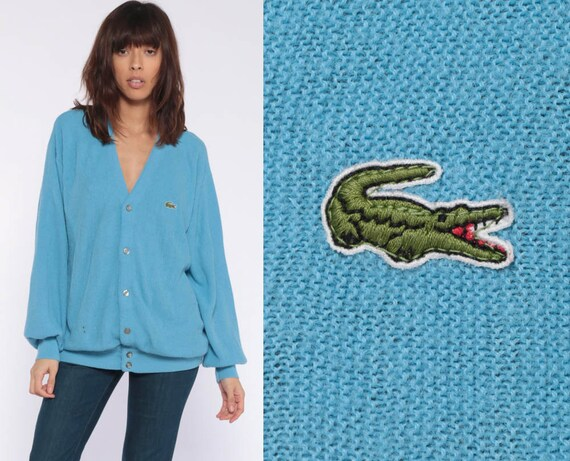 Lacoste Cardigan Sweater 80s Baby Blue Button Up IZOD Crocodile Grandpa Slouchy Vintage 1980s Preppy Hipster Oversize Retro Extra Large xl l