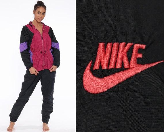 90s NIKE Track Suit Jacket + Pants -- 2 Piece Outfit Color Blocking Sportswear Black Sweats Pink Jacket Oversized Windbreaker Large
