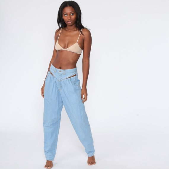 90s Mom Jeans Cherokee Pleated Jeans Light Blue Jeans 1990s Southwestern High Waisted Denim Pants Vintage Southwest Medium 29 Tall