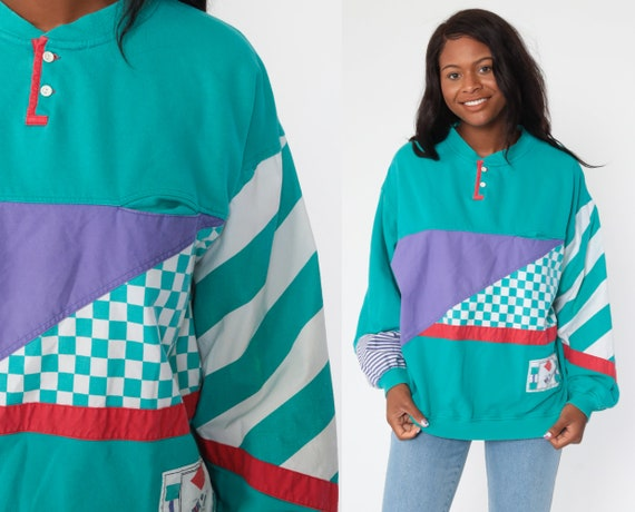 Color Block Sweatshirt Checkered Striped Turquoise Purple 90s Sweatshirt Sweater Retro Slouchy Polo Oversize 80s Vintage Extra Large xl l
