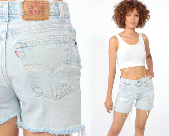 Levis Shorts Cut Off Shorts DISTRESSED Ripped High Waisted Light Blue Shorts Levi Cutoff Jean FRAYED High Waist Cutoffs 1980s Extra Small XS