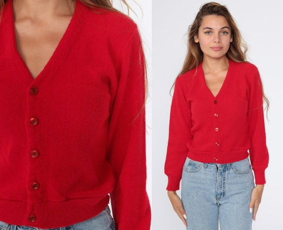 Red Cardigan Sweater 80s Sweater Knit Sweater Button Up 1980s Grandpa Plain Slouchy Vintage Retro Button Down Extra Small xs
