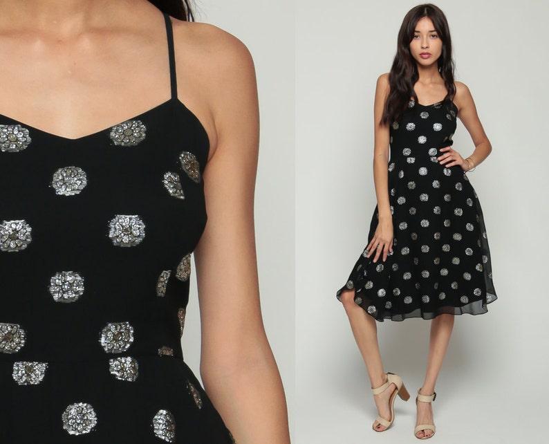 2eafe7ef3153 Black Party Dress 70s Boho Midi METALLIC Silver Floral