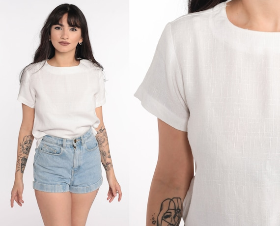 White Blouse Plain White Shirt Short Sleeve Top 80s Top 1980s Simple Textured Basic Extra Small xs Petite