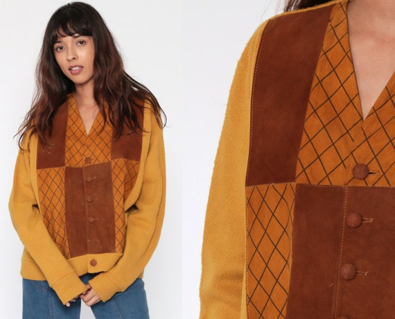 Leather Sweater Mustard Knit Boho Cardigan 70s Bohemian Suede Sweater Jacket Yellow Grandpa Hippie Boho 1970s Button Vintage Extra Large xl