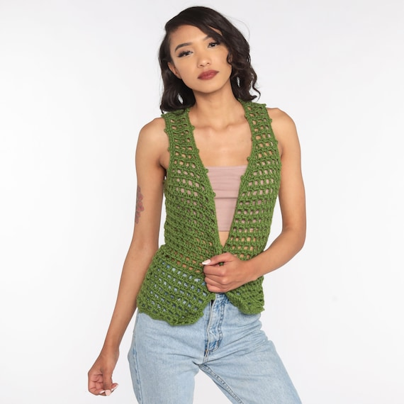 Crochet Vest Olive Green Knit Top 70s Hippie Boho… - image 3