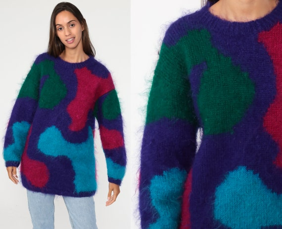 Mohair Sweater Purple COLOR BLOCK Fuzzy Pullover Sweater 80s Boho Retro Jumper 1980s Slouchy Bohemian Vintage Knit Extra Small xs