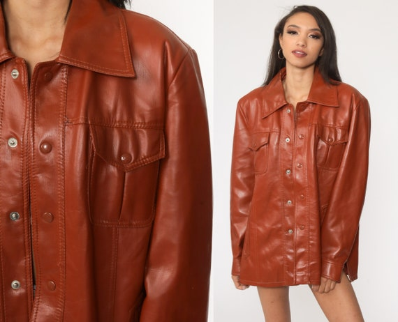 Faux Leather Jacket 70s Pleather Jacket Vegan Bohemian Fake Leather Coat Brown Button Up 1970s Boho Hippie Vintage Large