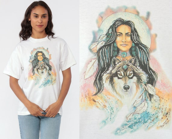 Native American Shirt 90s Wolf T Shirt Sparkle GLITTER Graphic Tshirt Feather Boho Tribal 90s Vintage Desert Retro Tee Woman Medium