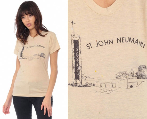 St John Neumann Church Shirt Irvine California T Shirt 80s Screen Stars Tee Retro Tshirt Burnout Vintage Graphic Retro Extra Small xs