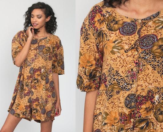 Leopard Floral Romper Dress 3xl 90s Grunge Playsuit Shorts Wide Leg Mini 1990s Short Sleeve Vintage Button Up Jumpsuit Orange Plus Size xxxl