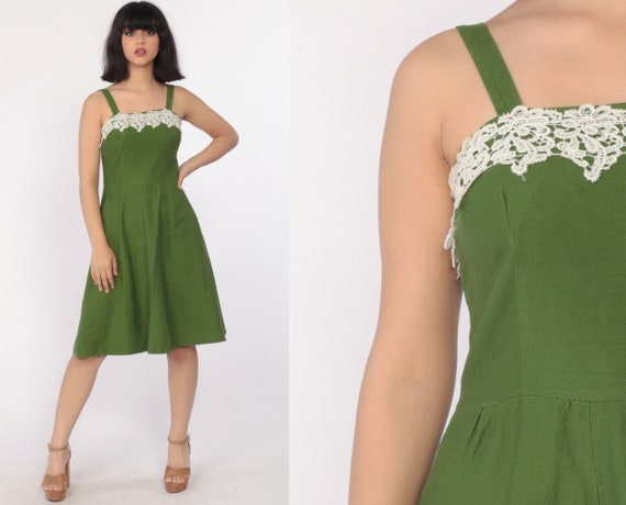 Green Sundress 1960s Dress FLORAL LACE Garden Party 60s Cotton Day Sun Dress Vintage Summer Mini High Waisted Fit and Flare Small 4