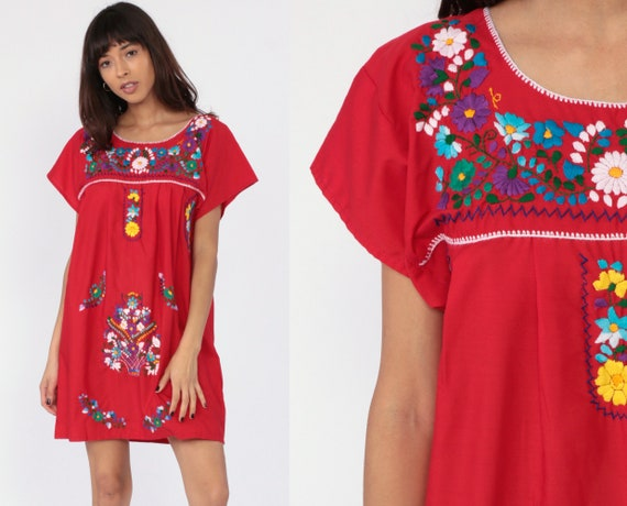 Embroidered Mexican Dress Hippie Boho Mini Ethnic Red Tent Bohemian Floral Tunic White Festival Minidress Summer Small
