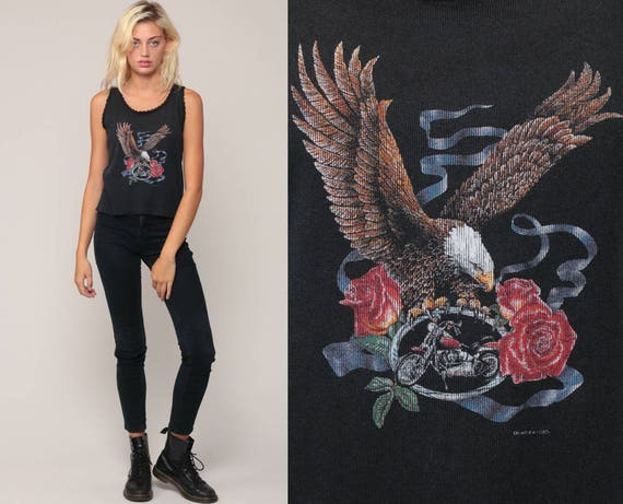 Biker Tank Top 80s Eagle Shirt Camisole Lace Motorcycle Newcastle California Rose Shirt Vintage 1980s Black Rocker Medium