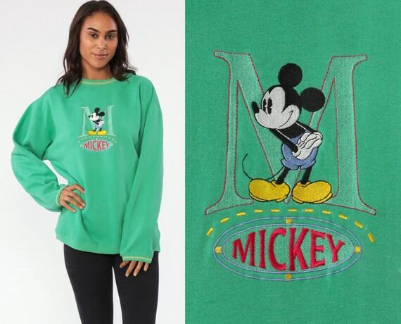 Mickey & Co Sweatshirt Walt Disney Mickey Mouse Sweater 90s Kawaii Disneyland Shirt Green Cartoon 90s Vintage Retro Medium Large