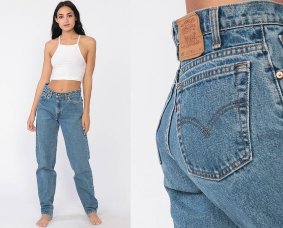 Levi Mom Jeans 30 x 33 -- LEVIS Jeans High Waist Jeans 80s Jeans Denim Pants 550 Relaxed Tapered Vintage 90s Blue Denim Medium Tall 8