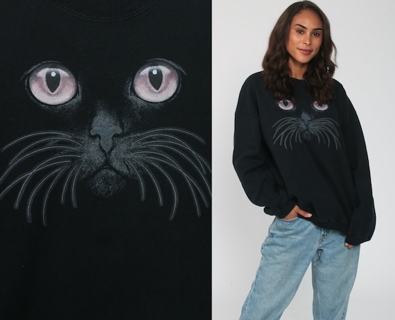 Cat Face Sweatshirt Black Kitten Sweater 80s Animal Sweatshirt Vintage 90s Graphic Retro Oversized Distressed kawaii Novelty Medium Large