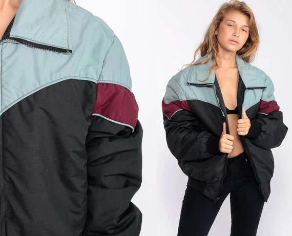 Puffer Jacket Ski Jacket Retro 80s Striped Puffy Coat Winter Coat 70s Color Block Black Jacket 1980s Hipster 1970s Puff Extra Large xl 44