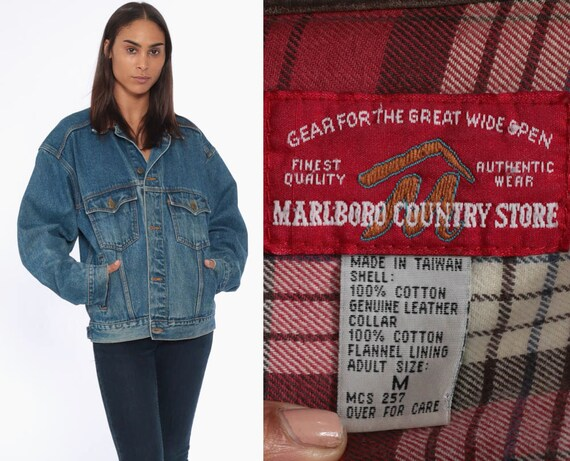 90s Marlboro Jean Jacket -- 80s Denim Jacket LEATHER COLLAR Jacket Grunge Oversized 90s Vintage Blue Brown Coat Retro Medium