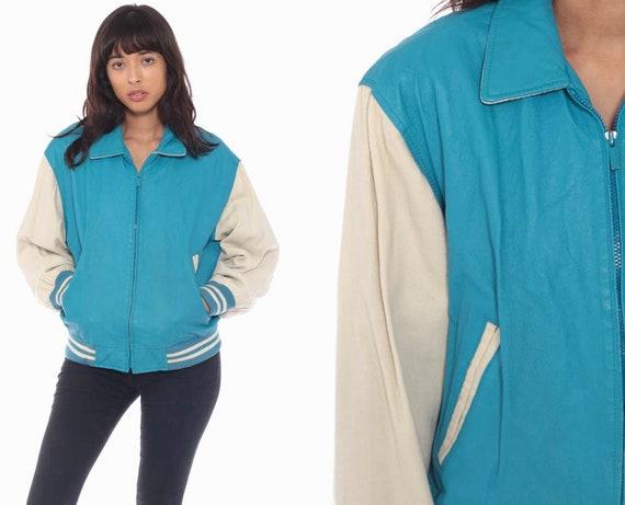 Wilson Letterman Jacket Blue Varsity Jacket LEATHER Baseball Jacket Bomber Jacket 80s Coat Sports Vintage Medium
