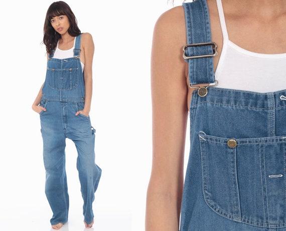 Denim Overalls Pants -- Distressed Painter 80s Denim GRUNGE Pants Bib Overalls Long Jean Pants Vintage Carpenter Medium