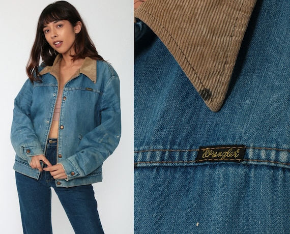 Denim Shearling Jacket WRANGLER Sherpa Jean Jacket 80s Jean Jacket Biker Blue Coat CORDUROY COLLAR 1980s Vintage Fleece Medium Large