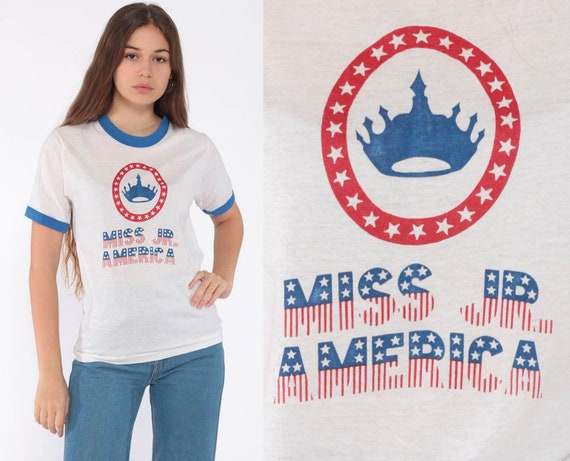 Vintage Miss America Shirt Ringer Tee Shirt TShirt 80s T Shirt Graphic Retro Tee Miss Jr America Burnout Paper Thin Tee Small
