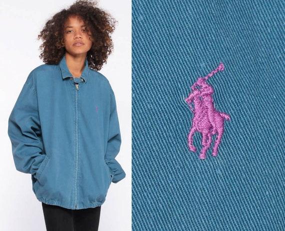 Ralph Lauren Jacket DENIM Jacket 90s POLO Sport Jacket Light Blue 1990s Streetwear Zip Up RLP Jean Zip Up Sportswear Medium Large