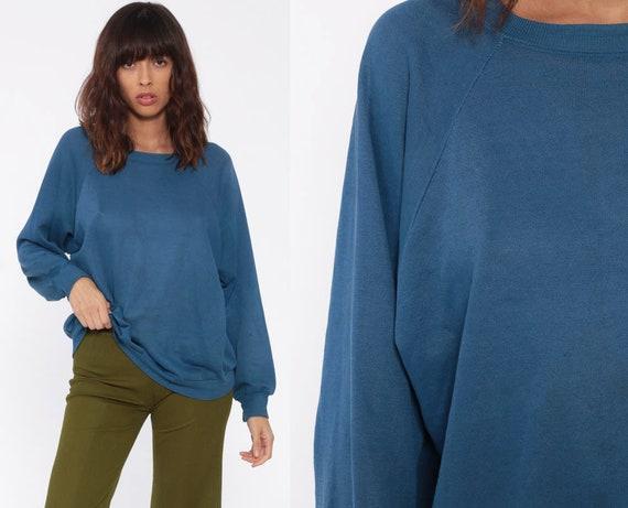 Blue Crewneck Sweatshirt 80s Raglan Sleeve Plain DISTRESSED Long Sleeve Shirt Slouchy 1980s Vintage Grunge Normcore Medium Large