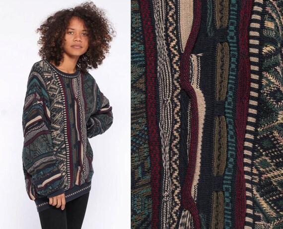 90s Striped Pullover Sweater -- Slouchy 1990s Streetwear Oversized Grunge Colorful Sweatshirt Heavyweight 80s Sportswear Medium Large