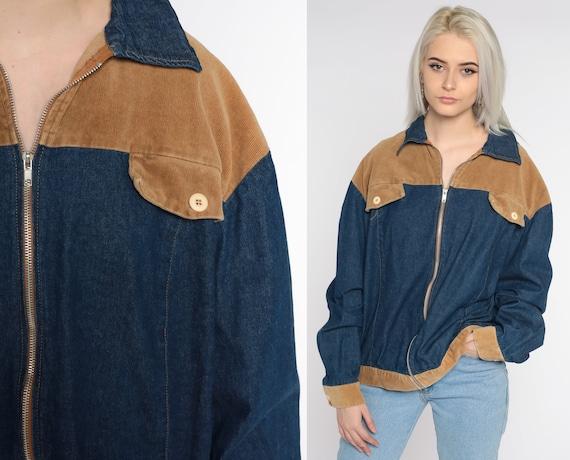Y2K Jean Jacket 2xl Corduroy Denim Jacket Blue Jean Jacket Stone Vintage Biker Zip Up Trucker Jacket Oversized Blue Extra Large xxl
