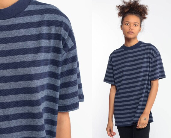 Short Sleeve Shirt 90s Striped Tee Shirt 80s Blue Shirt Slouchy Grey Tee 1990s Streetwear Ringer Top Vintage Normcore T Shirt Small Medium