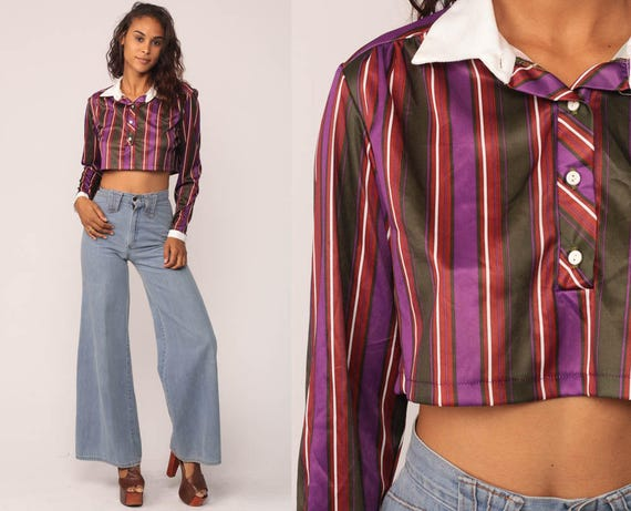 Crop Top Striped Shirt Button Up Blouse 70s Long Sleeve Top 80s Cropped Shirt Purple Secretary Collared Vintage Small Medium