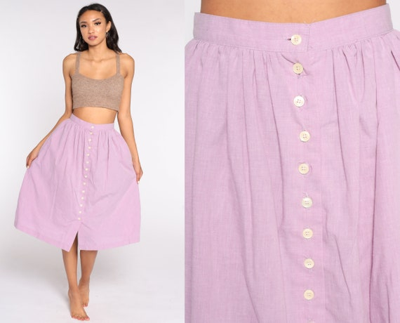 Purple Button Up Skirt 80s Midi Skirt Summer Boho HIGH WAISTED 1980s Skirt Vintage Hippie Festival Cotton Extra Small xs