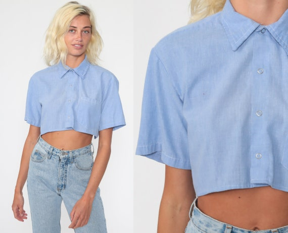 Blue Crop Top 70s Shirt Plain Blouse Chambray Collared Button Up Shirt 1970s Long Sleeve Retro Vintage Cropped Shirt Small Medium