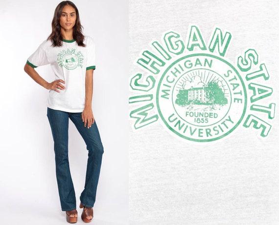 Michigan State Shirt University Shirt Ringer Tee 80s Tshirt College Graphic Print Retro Paper Thin Burnout Vintage T Shirt Large
