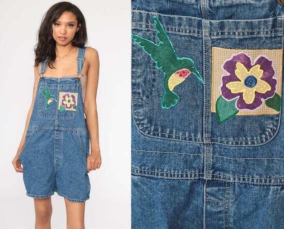 Hummingbird Shortalls Denim Overall Shorts Jean FLORAL Bib 90s Bird Overalls Blue One Piece Woman 1990s Vintage Large