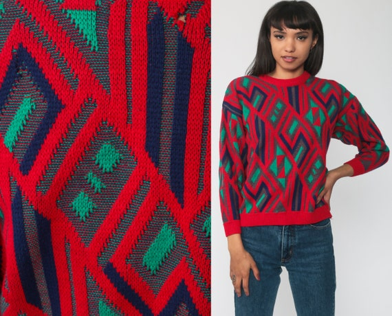 80s Sweater Red GEOMETRIC Sweater Checkered Print Knit Jumper 90s Statement Vintage Pullover Retro Green Small