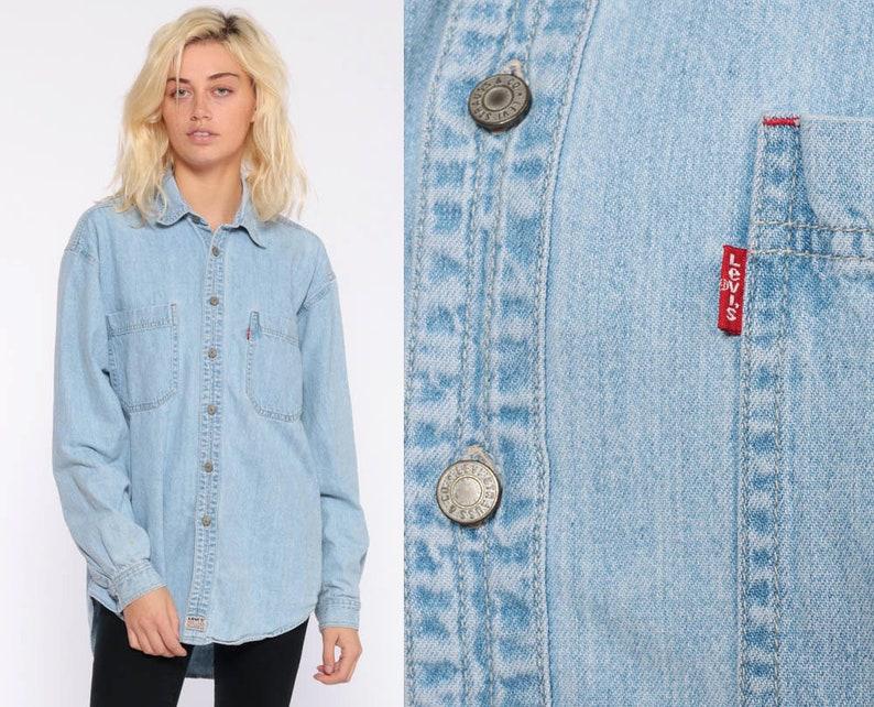 cb45c23250 Levis Denim Shirt Medium Button Up Shirt Levi Jean Shirt 90s